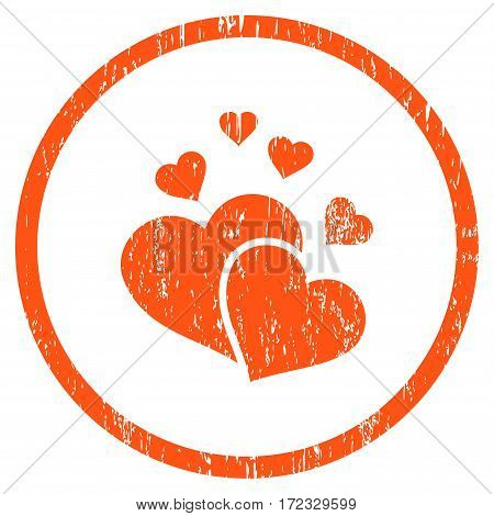 Lovely Hearts grainy textured icon for overlay watermark stamps. Rounded flat vector symbol with scratched texture. Circled orange ink rubber seal stamp with grunge design on a white background.