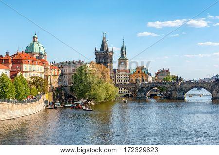 Charles Bridge On Vltava River, Prague