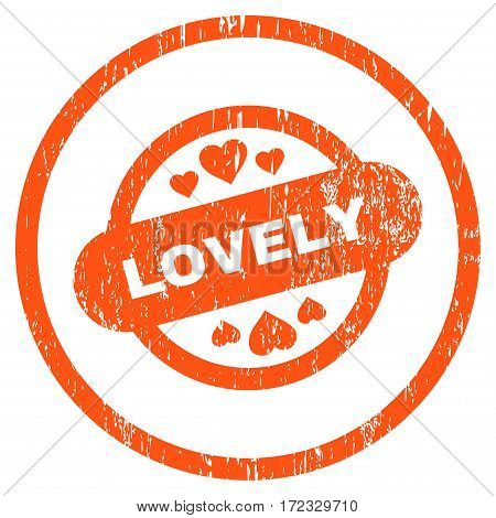Lovely Stamp Seal grainy textured icon for overlay watermark stamps. Rounded flat vector symbol with dirty texture. Circled orange ink rubber seal stamp with grunge design on a white background.
