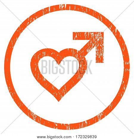Male Heart grainy textured icon for overlay watermark stamps. Rounded flat vector symbol with scratched texture. Circled orange ink rubber seal stamp with grunge design on a white background.
