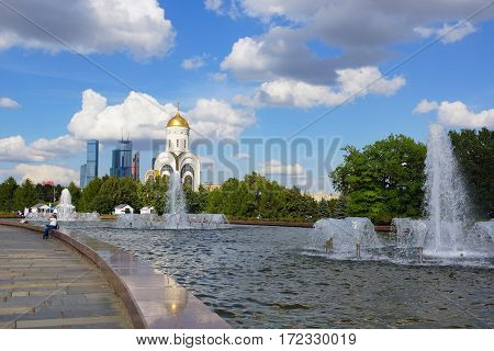 MOSCOW. RUSSIA. August 23, 2015. Fountains at the Cathedral of St. George. Poklonnaya Gora.