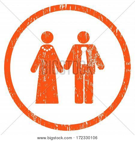 Newlyweds grainy textured icon for overlay watermark stamps. Rounded flat vector symbol with unclean texture. Circled orange ink rubber seal stamp with grunge design on a white background.