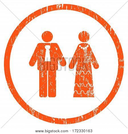 Newlyweds grainy textured icon for overlay watermark stamps. Rounded flat vector symbol with dust texture. Circled orange ink rubber seal stamp with grunge design on a white background.