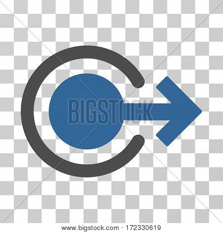 Logout vector pictogram. Illustration style is flat iconic bicolor cobalt and gray symbol on a transparent background.