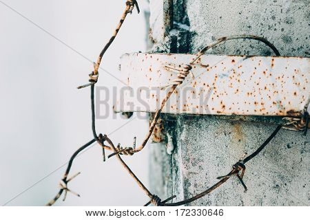 Rusty barbed wire on a concrete fence on the white background