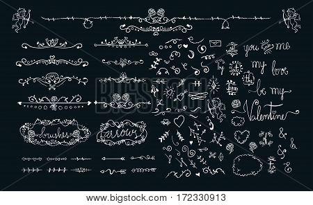 Hand Drawn Doodles Sketch Valentine Wedding Romantic Love Graphics