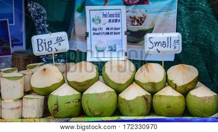 Selling Coconut Fruits At The Local Market