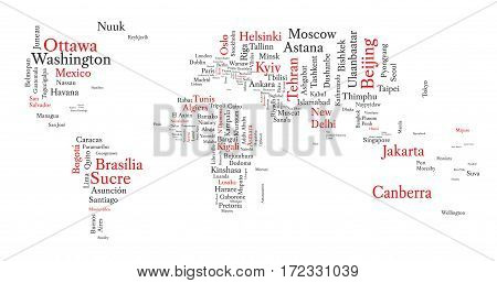 Word cloud in a shape of world map contains all capitals. Conceptual map in black and red font isolated on white. Vector illustration.