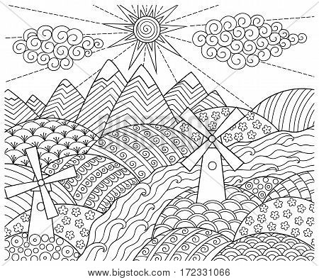 Doodle pattern in black and white. Landscape Pattern for coloring book. Mountains, rivers, fields, hills, windmills - coloring book for children and adults.