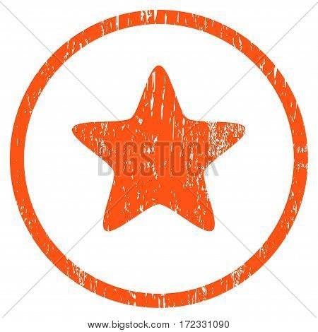 Star grainy textured icon for overlay watermark stamps. Rounded flat vector symbol with scratched texture. Circled orange ink rubber seal stamp with grunge design on a white background.