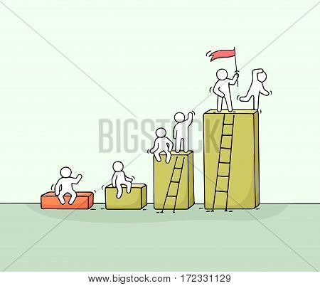 Cartoon diagramm with working little people. Doodle cute miniature teamwork. Hand drawn vector illustration for business design and infographic.