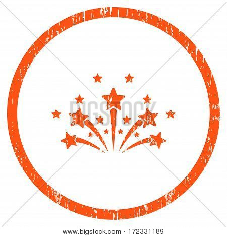 Star Fireworks grainy textured icon for overlay watermark stamps. Rounded flat vector symbol with dirty texture. Circled orange ink rubber seal stamp with grunge design on a white background.