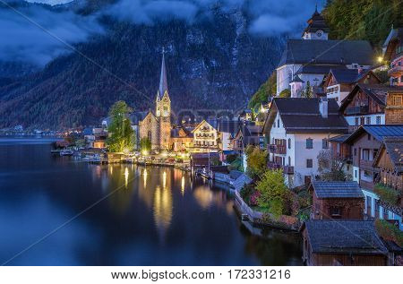 Hallstatt Mountain Village In Twilight, Salzkammergut, Austria