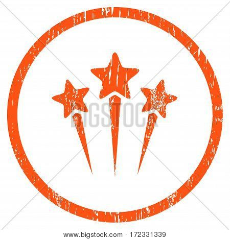 Star Salute grainy textured icon for overlay watermark stamps. Rounded flat vector symbol with scratched texture. Circled orange ink rubber seal stamp with grunge design on a white background.