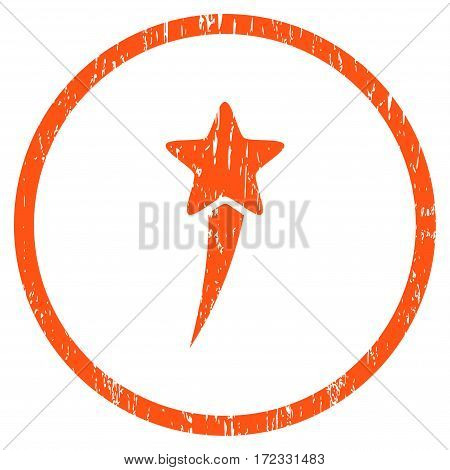 Starting Star grainy textured icon for overlay watermark stamps. Rounded flat vector symbol with unclean texture. Circled orange ink rubber seal stamp with grunge design on a white background.