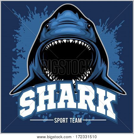 Strong sharks sports mascot on blue background.
