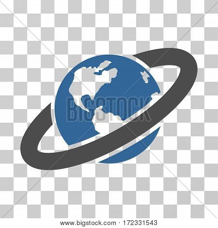 Ringed Planet vector icon. Illustration style is flat iconic bicolor cobalt and gray symbol on a transparent background.