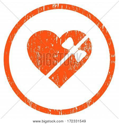 Tied Love Heart grainy textured icon for overlay watermark stamps. Rounded flat vector symbol with scratched texture. Circled orange ink rubber seal stamp with grunge design on a white background.