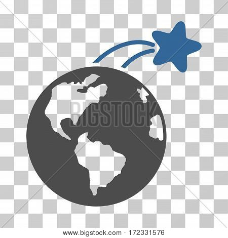 Rising Satellite On Earth vector pictograph. Illustration style is flat iconic bicolor cobalt and gray symbol on a transparent background.