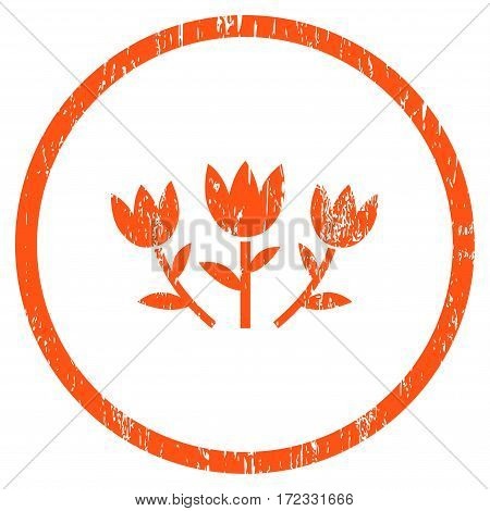 Tulip Flowers grainy textured icon for overlay watermark stamps. Rounded flat vector symbol with scratched texture. Circled orange ink rubber seal stamp with grunge design on a white background.