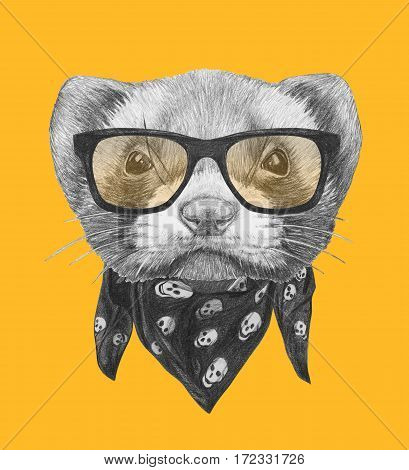 Portrait of Least Weasel with glasses and scarf. Hand drawn illustration.