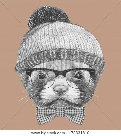 Portrait of Least Weasel with hat, glasses and bow tie. Hand drawn illustration.