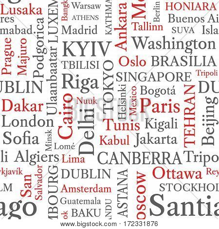 Word cloud seamless pattern. World capitals in word tags. Conceptual seamless background in black and red font. Vector illustration.