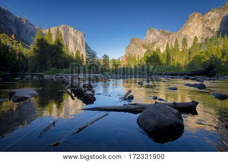 Classic View Of Yosemite Valley At Sunset, California, Usa