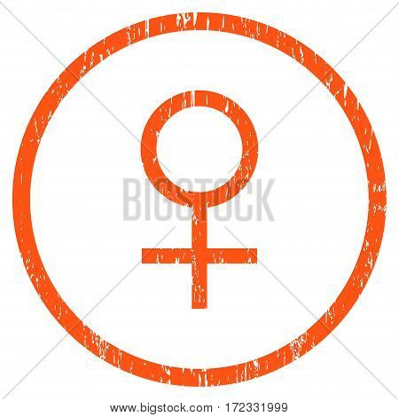 Venus Female Symbol grainy textured icon for overlay watermark stamps. Rounded flat vector symbol with dust texture. Circled orange ink rubber seal stamp with grunge design on a white background.