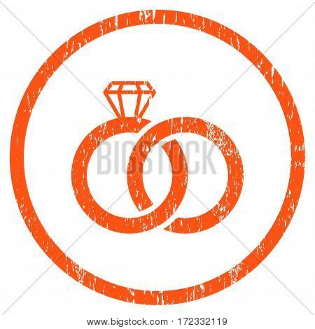 Wedding Rings grainy textured icon for overlay watermark stamps. Rounded flat vector symbol with scratched texture. Circled orange ink rubber seal stamp with grunge design on a white background.