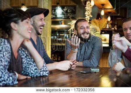 Diverse People Talk Conversation Enjoy Hang Out