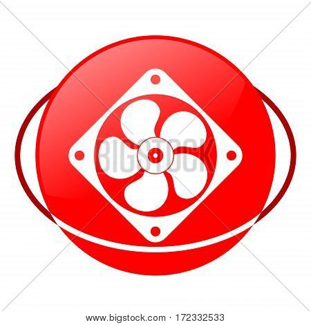 Red icon, exhaust fun vector illustration on white background