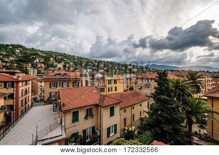Santa Margherita Ligure town under dramatic sky in Italy