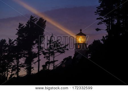 Heceta Head Lighthouse at night, Pacific coast, built in 1892, Oregon, USA