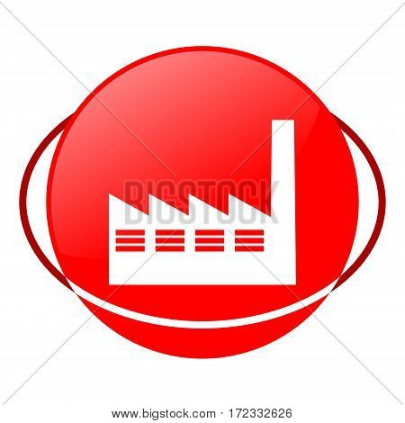 Red icon, factory vector illustration on white background