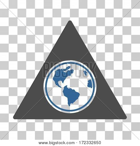 Terra Triangle vector pictogram. Illustration style is flat iconic bicolor cobalt and gray symbol on a transparent background.