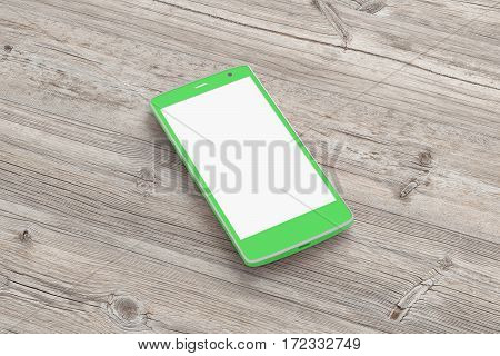 Smartphone On Wooden Background.