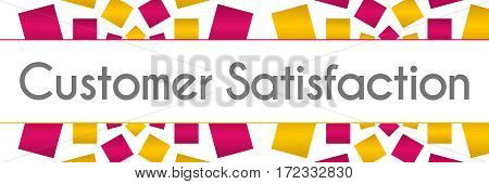 Customer satisfaction text written over pink gold background.