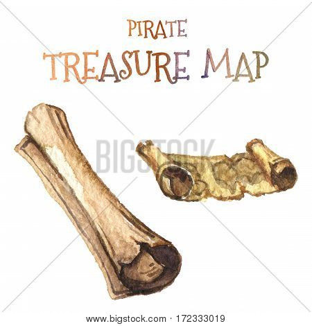 Watercolor illustration isolated on white background. Marine icon. Washed-out old yellow map of a pirate. Flattened and rolled.