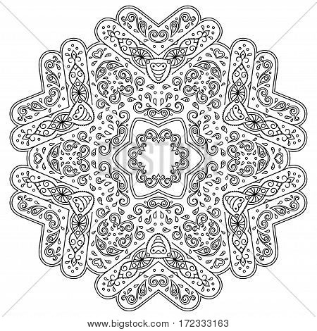 Henna tatoo mandala. Mehndi style.Decorative pattern in oriental style. Coloring book page.