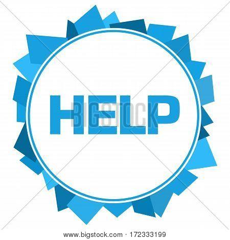 Help text written over blue circular background.