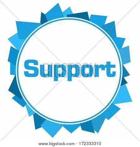 Support text written over blue circular background.