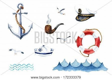 Watercolor nautical set of design elements: anchor cap captain's cap, tube, seagull, waves, life preserver