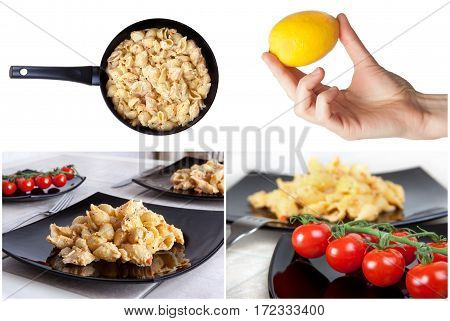 Italian food collage - pasta and cheese. light background