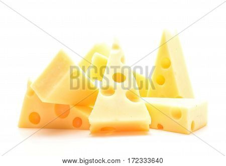 Emmental cheese isolated on white background in studio