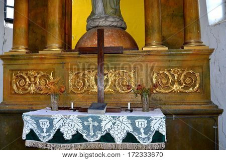 Altar of the fortified medieval saxon church in Ungra, a commune in Braşov County, Romania. Here there is a medieval 13th century Transylvanian Saxon church and many old houses