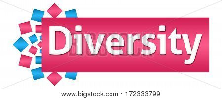 Diversity text written over pink blue background.
