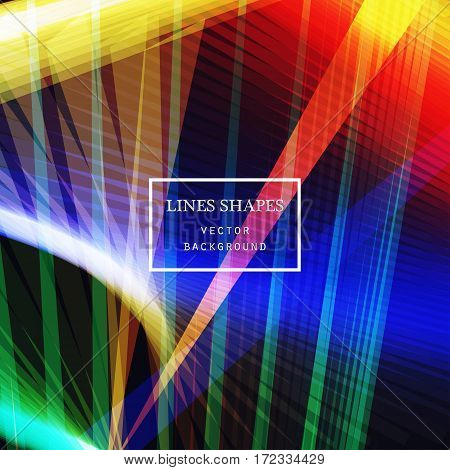 Modern technology striped abstract background vector. Colorful stripes waves lines for presentation banner brochure poster website and flyer design. Contrast colors grid