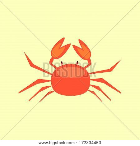 Cute cartoon crab isolated on yellow background. Red crab in flat style.
