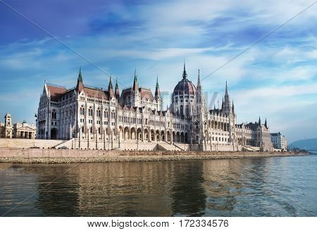 Parliament building in Budapest, Hungary on a cloudy day